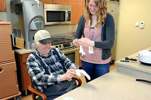 A Minnesota Veterans Home, Minneapolis, resident and staff member.